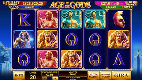 La slot Age of the Gods sul casinò Bitcoin William Hill.