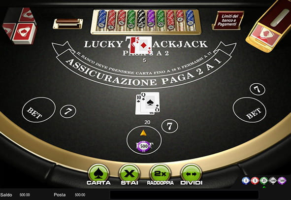 Una partita in corso d'opera del Lucky Blackjack di Playtech.