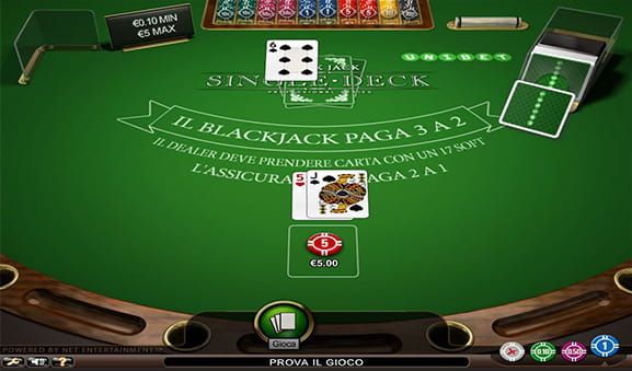 Una partita in corso su un tavolo di Blackjack Single Deck offerto da NetEnt.