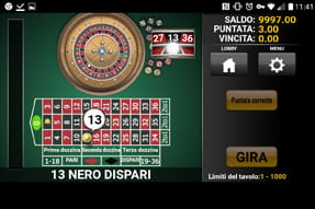 La roulette europea del casinò mobile Mr Green.