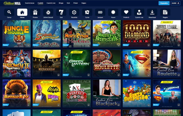 L'area giochi del sito web casinò William Hill.