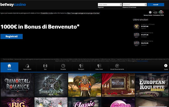 La homepage del casinò Betway.