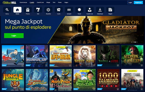 La homepage del casinò William Hill.