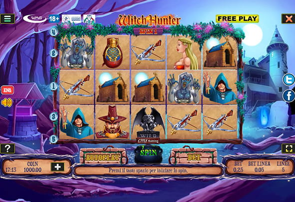 L'interfaccia di gioco della slot machine 'Witch Hunter'.
