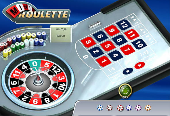 L'interfaccia grafica della Mini Roulette di Playtech.