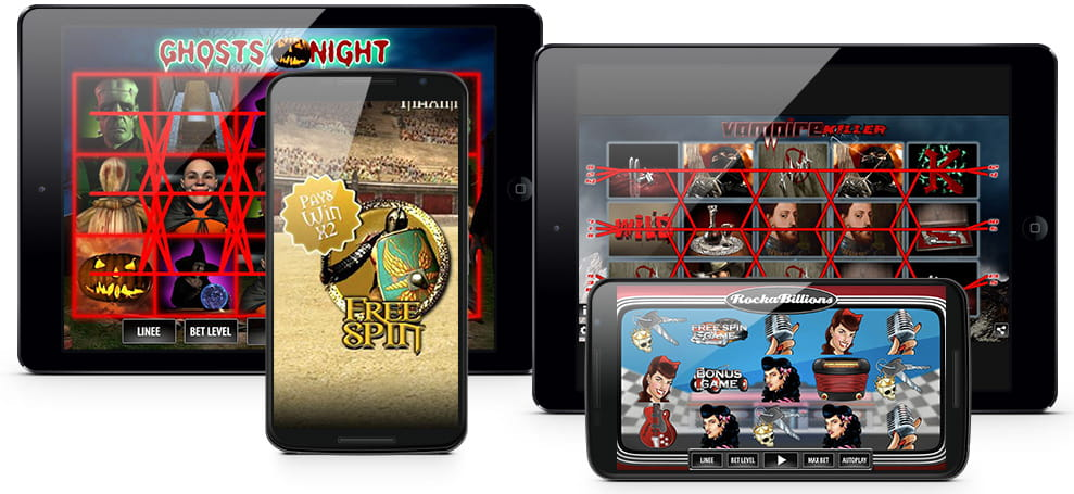 Differenti dispositivi mobile con le interfacce dei principali giochi slot WorldMatch.