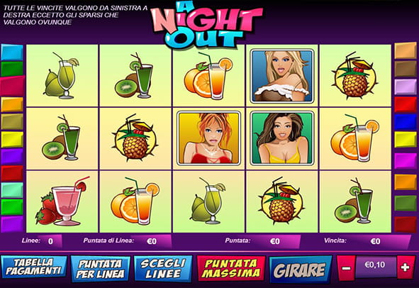 L'interfaccia della slot A Night Out durante una partita.