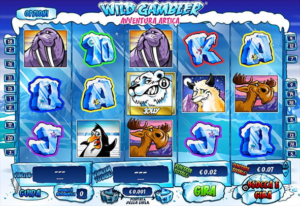 L'interfaccia grafica della slot Arctic Adventure di Playtech.