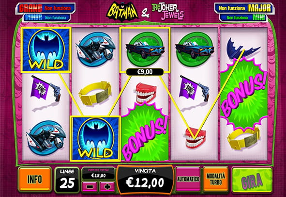 L'interfaccia grafica della slot Batman and The Joker Jewels di Playtech.