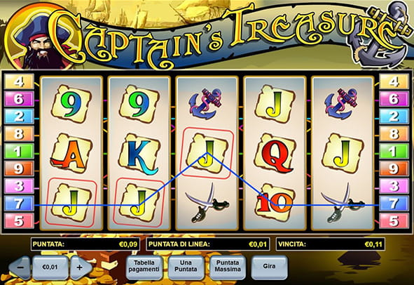 L'interfaccia grafica della slot Captain's Treasure di Playtech.
