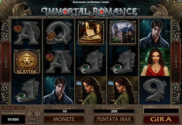 L'interfaccia grafica della slot Immortal Romance targata Microgaming.
