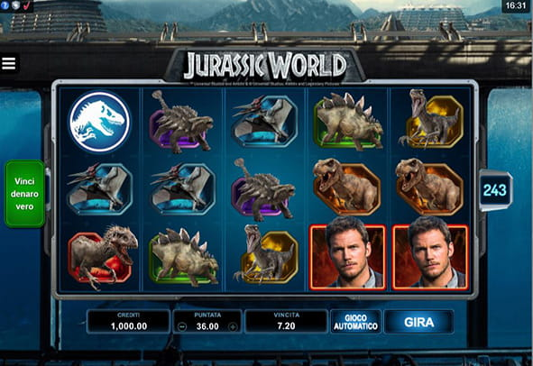 Il gameplay della slot Jurassic Word prodotta dalla software house Microgaming.