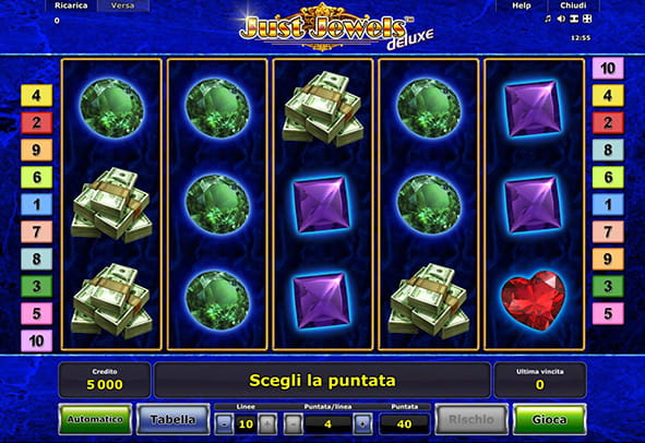 Il layout del gameplay della slot online Just Jewels prodotta da Novomatic.