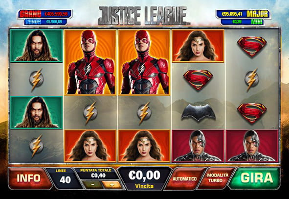 La grafica della slot Justice League prodotta dalla software house Playtech.