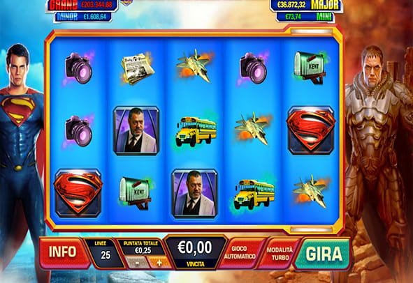L'interfaccia grafica della slot Man of Steel di Playtech.