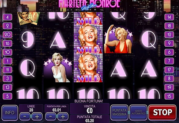 L'interfaccia grafica della slot Marilyn Monroe di Playtech.