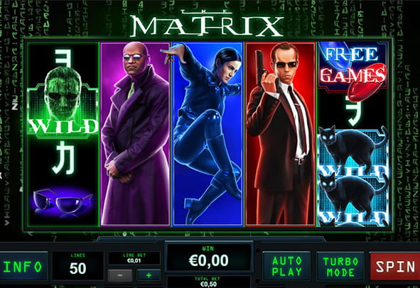 L'interfaccia grafica futuristica della slot The Matrix offerta da Playtech.