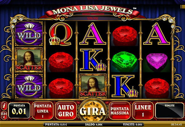 L'interfaccia grafica della slot Mona Lisa Jewels di iSoftBet.
