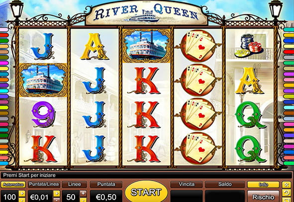 Il layout della slot machine River Queen prodotta dal developer Novomatic.