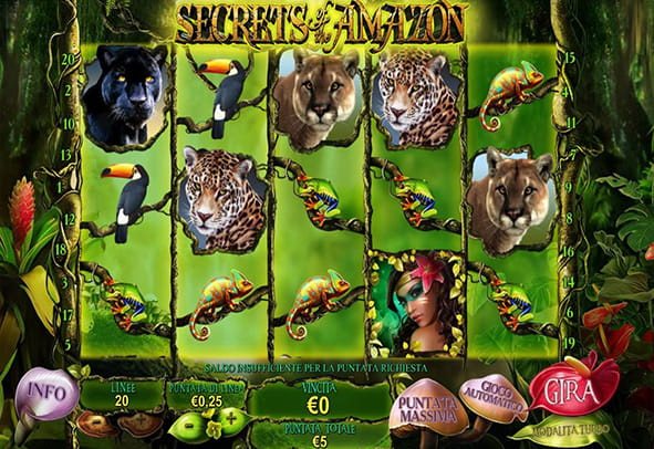 L'interfaccia grafica della slot Secrets of the Amazon di Playtech.