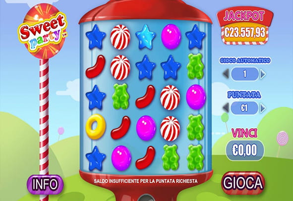 L'interfaccia grafica della slot Sweet Party di Playtech.