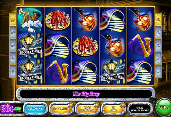 La colorata interfaccia grafica della slot machine The Big Easy.