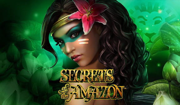L'amazzone ed il logo della slot Secrets of the Amazon di Playtech.