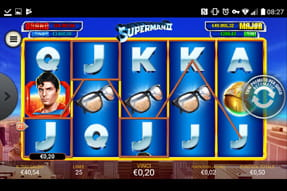 La slot Superman II del casinò mobile Lottomatica.